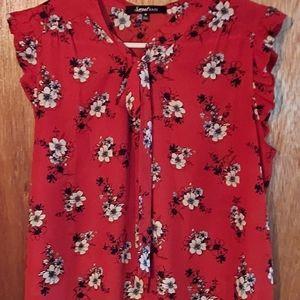 Sweet Rain ruffled cap sleeve, tie front blouse